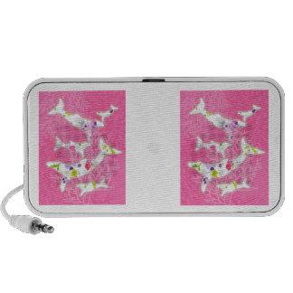Delfínes en fondo rosado floral mp3 altavoces