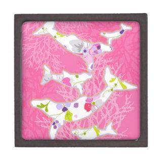 Delfínes en fondo rosado floral cajas de recuerdo de calidad