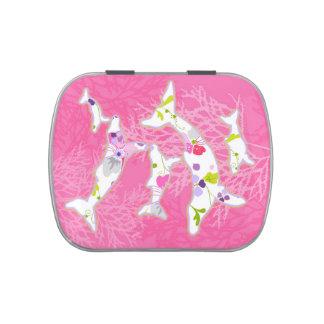 Delfínes en fondo rosado floral jarrones de dulces