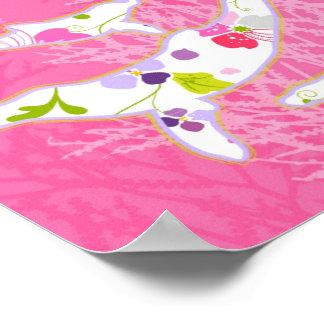 Delfínes en fondo rosado floral posters