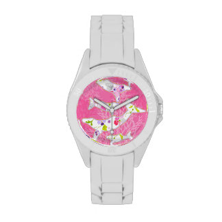 Delfínes en fondo rosado floral relojes de mano