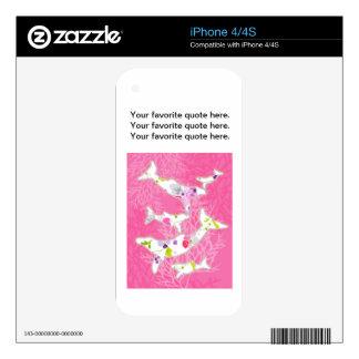 Delfínes en fondo rosado floral calcomanías para el iPhone 4S