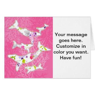 Delfínes en fondo rosado floral felicitaciones