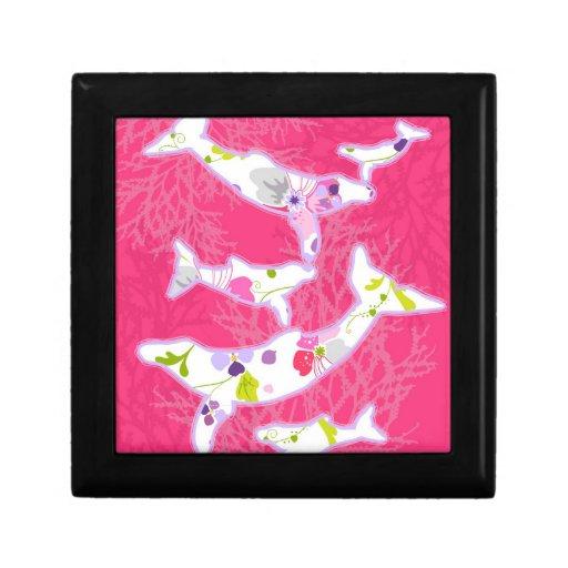 Delfínes en fondo rosado llano joyero cuadrado pequeño