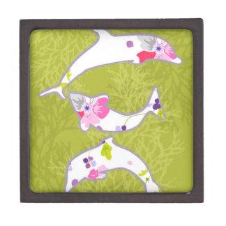 Delfínes en fondo verde en colores pastel cajas de regalo de calidad