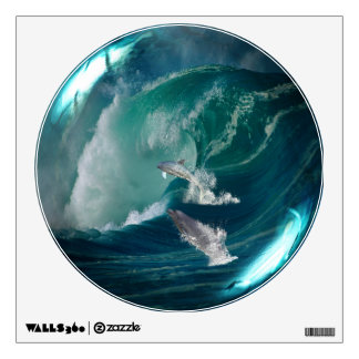 Delfínes en la etiqueta de cristal de la pared de vinilo