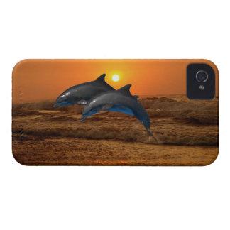 Delfínes en la puesta del sol