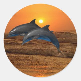 Delfínes en la puesta del sol etiqueta redonda