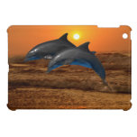 Delfínes en la puesta del sol iPad mini protectores