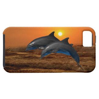Delfínes en la puesta del sol funda para iPhone 5 tough