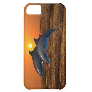 Delfínes en la puesta del sol funda para iPhone 5C