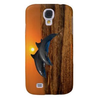 Delfínes en la puesta del sol funda samsung s4