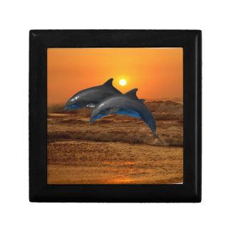 Delfínes en la puesta del sol joyero cuadrado pequeño