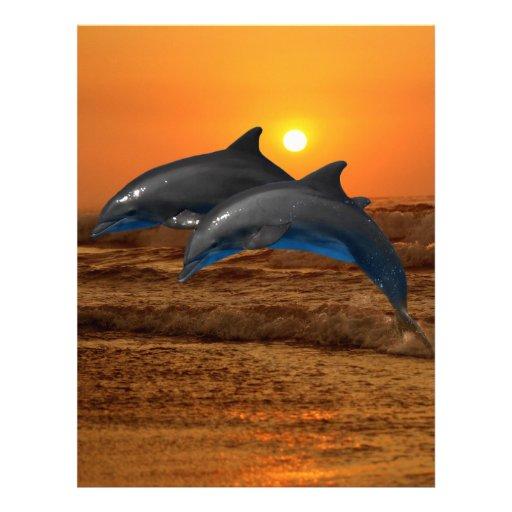Delfínes en la puesta del sol membretes personalizados