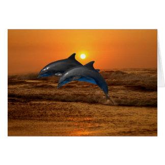 Delfínes en la puesta del sol tarjeta de felicitación