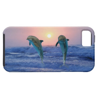 Delfínes en la salida del sol iPhone 5 funda