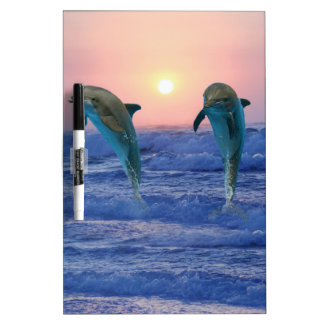 Delfínes en la salida del sol pizarra blanca