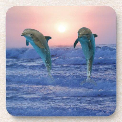 Delfínes en la salida del sol posavasos