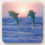 Delfínes en la salida del sol posavasos de bebida