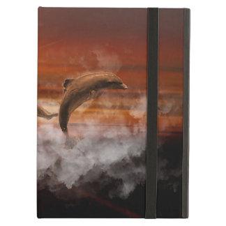 Delfínes en nubes en el collage de la puesta del s