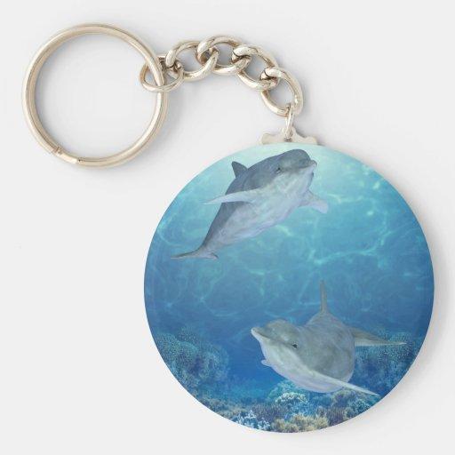 delfínes felices llavero redondo tipo pin