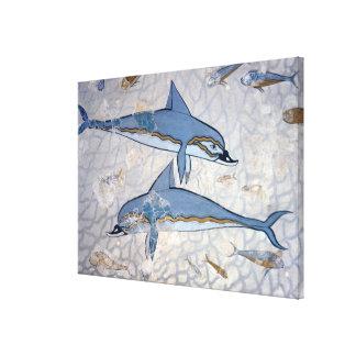 Delfínes (fresco) impresión en lienzo