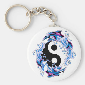 Delfínes frescos de Yin Yang del símbolo del tatua Llavero Personalizado