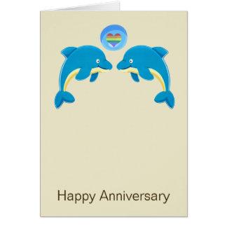 Delfínes gay y aniversario de la burbuja del coraz felicitaciones