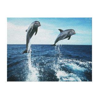 Delfínes gemelos impresion de lienzo