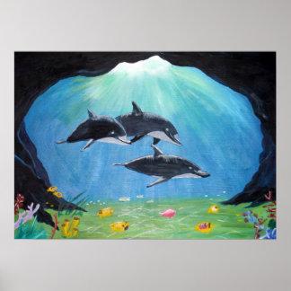 Delfínes - impresión póster