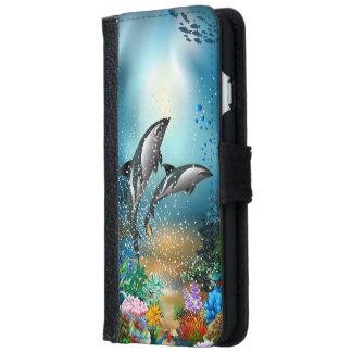 Delfínes lindos de los pares que juegan en el funda cartera para iPhone 6