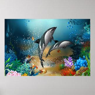 Delfínes lindos de los pares que juegan en el océa posters