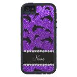 Delfínes púrpuras personalizados del brillo del iPhone 5 Case-Mate protectores