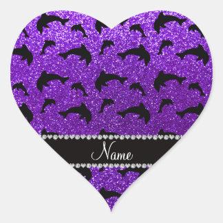 Delfínes púrpuras personalizados del brillo del pegatina en forma de corazón