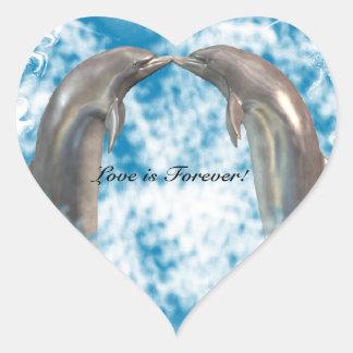 Delfínes que besan a los pegatinas pegatina en forma de corazón