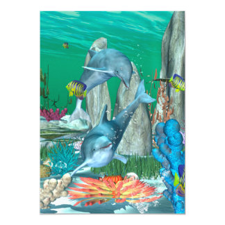 """Delfínes que juegan divertidos con otros pescados invitación 5"""" x 7"""""""