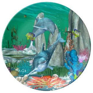 Delfínes que juegan divertidos con otros pescados platos de cerámica