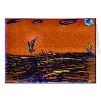 Delfínes que juegan en efectos coloreados océano d tarjeta de felicitación
