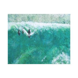 Delfínes que practican surf II Lienzo Envuelto Para Galerias
