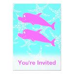 Delfínes rosados invitación 12,7 x 17,8 cm