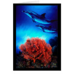 Delfínes sobre corales tarjeta