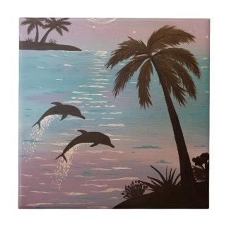 Delfínes tropicales azulejo cuadrado pequeño