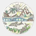 Delfínes tropicales pegatina redonda