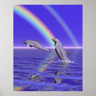 Delfínes y arco iris póster