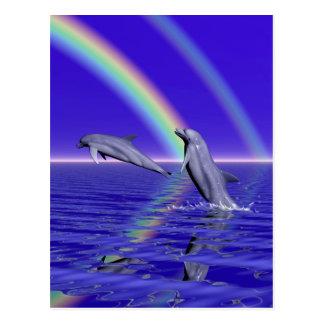 Delfínes y arco iris tarjetas postales