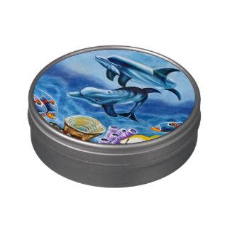 Delfínes y arte tropical de los pescados frascos de dulces