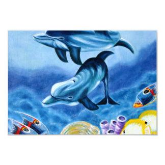 """Delfínes y arte tropical de los pescados invitación 3.5"""" x 5"""""""
