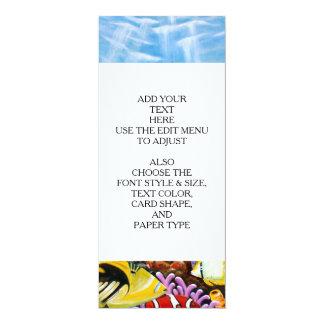 """Delfínes y arte tropical de los pescados invitación 4"""" x 9.25"""""""