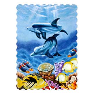 """Delfínes y arte tropical de los pescados invitación 5"""" x 7"""""""