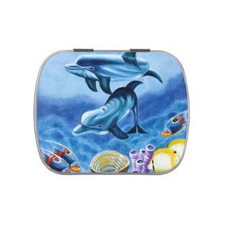 Delfínes y arte tropical de los pescados latas de caramelos